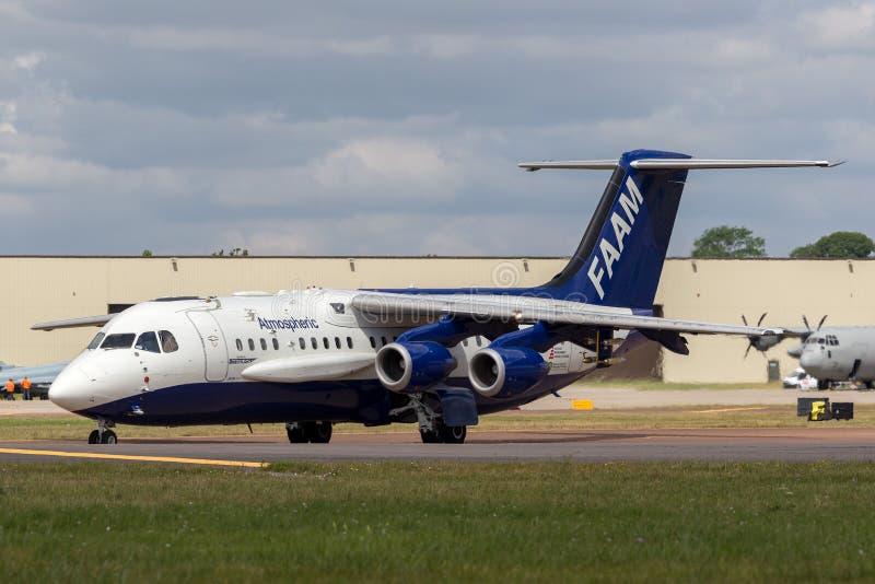 La instalación para los aviones de investigación atmosféricos británicos atmosféricos aerotransportados del espacio aéreo BAe-146 fotos de archivo