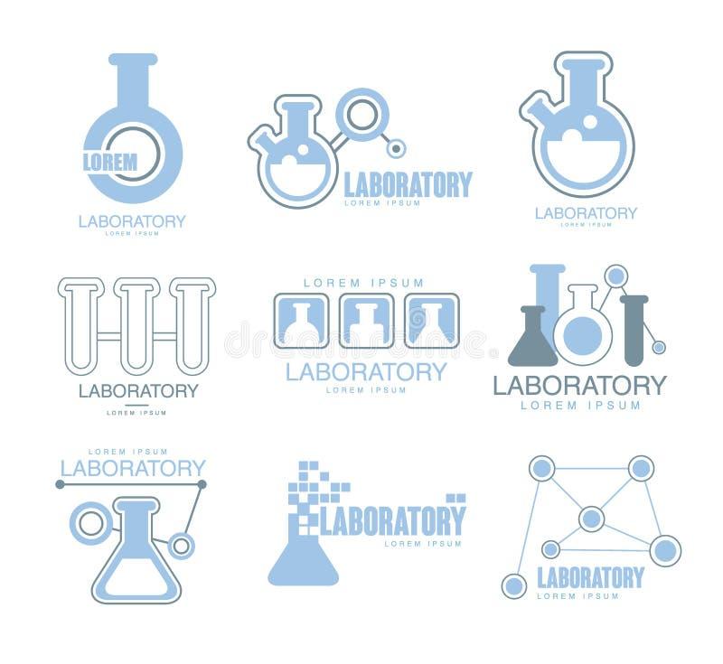 La instalación química Logo Graphic Design Templates Set del laboratorio en color azul claro con las siluetas de los tubos de ens ilustración del vector