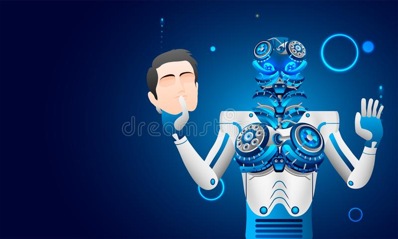 La inteligencia artificial (AI), el robot o el cyborg quita anthropomo stock de ilustración