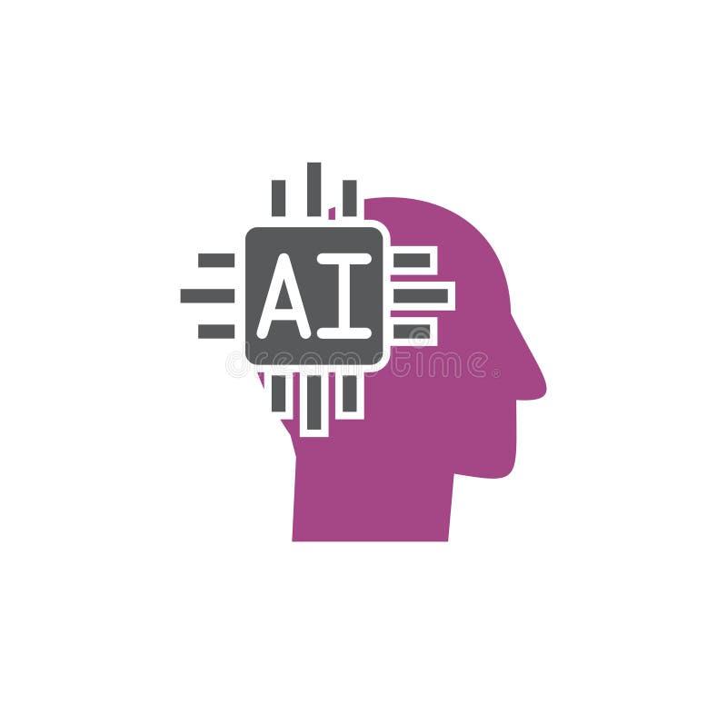 La inteligencia artificial Ai relacionó el icono en el fondo para el gráfico y el diseño web Ilustraci?n simple Concepto del Inte stock de ilustración