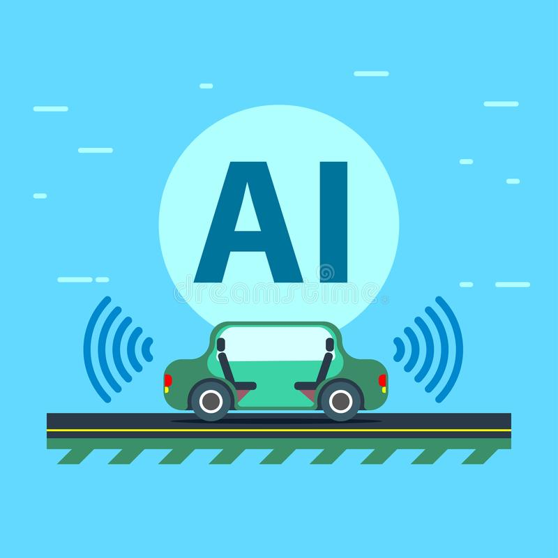 La inteligencia artificial controla el vehículo autónomo stock de ilustración