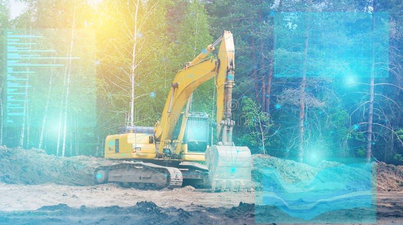 La inteligencia artificial incorporada al excavador de la futura generación la controla y conduce la investigación geodésica para