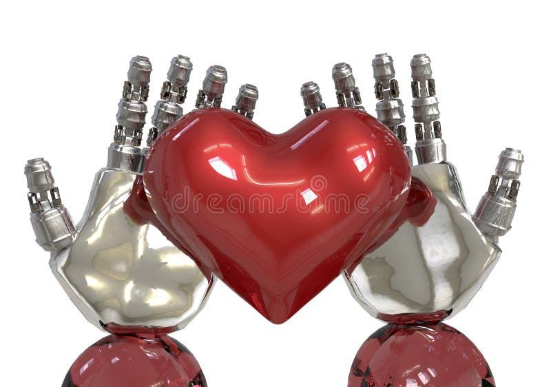 La inteligencia artificial o el AI da llevar a cabo un corazón rojo el robot puede sensación en amor como ser humano ilustración del vector