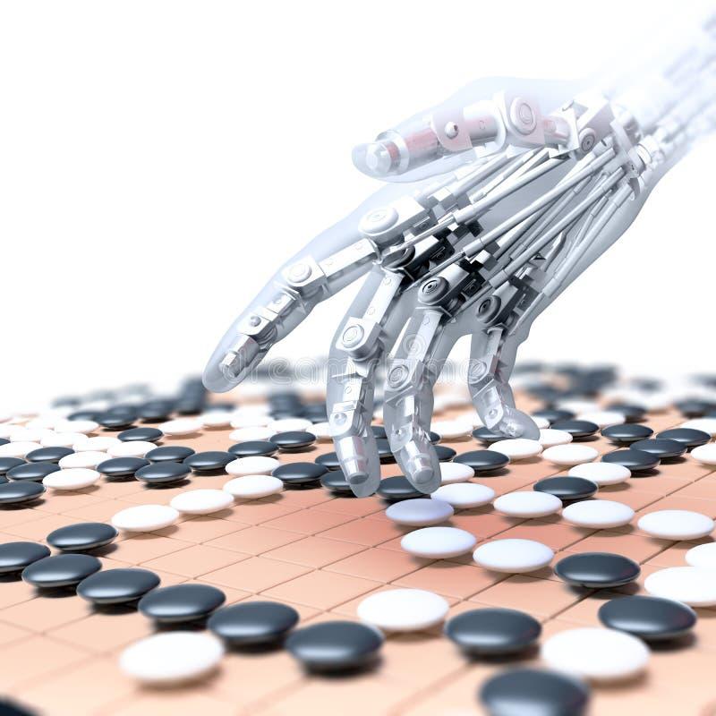 La inteligencia artificial que compite en el juego de va stock de ilustración