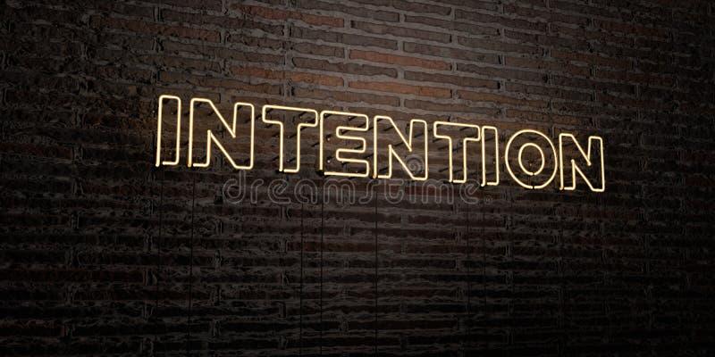 La INTENCIÓN - señal de neón realista en fondo de la pared de ladrillo - 3D rindió imagen común libre de los derechos libre illustration