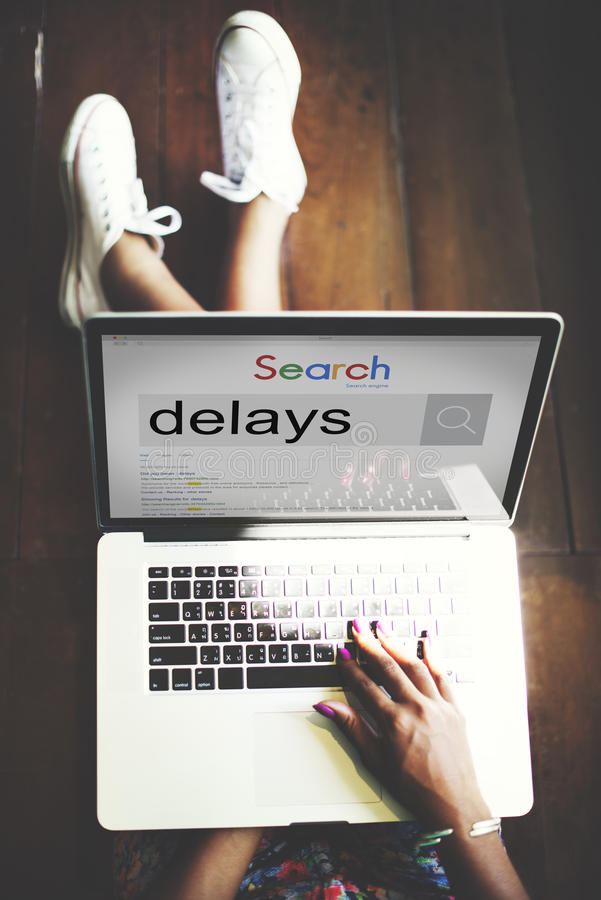 La interrupción de los retrasos pospuesta tarde suspende concepto imagen de archivo