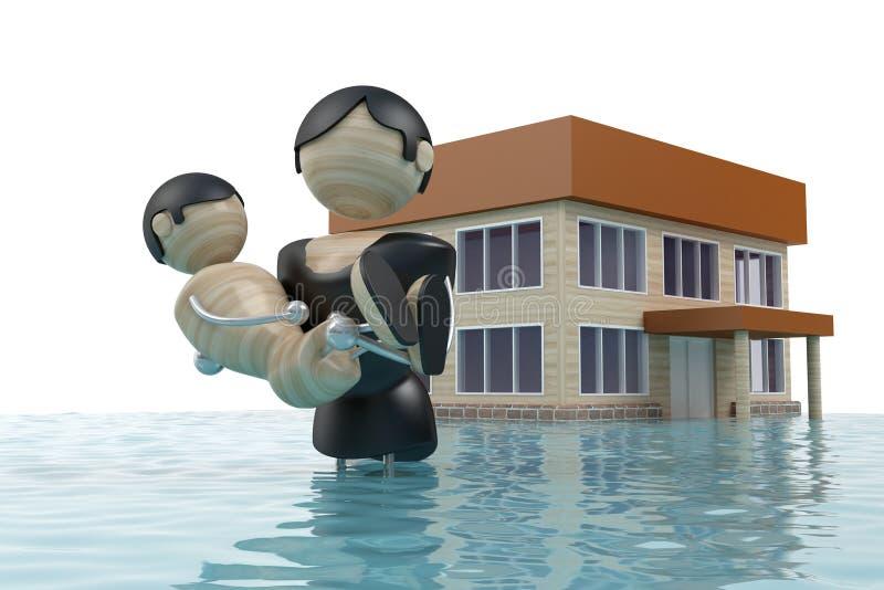 La inundación, hombre es el niño del salvador libre illustration