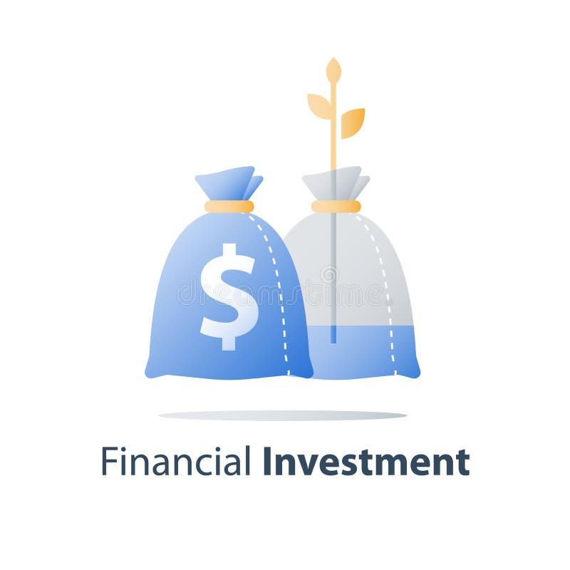 La inversión a largo plazo, aumento de la renta, crecimiento de los ingresos, tipo de interés alto, presupuesto financiero, gana  stock de ilustración