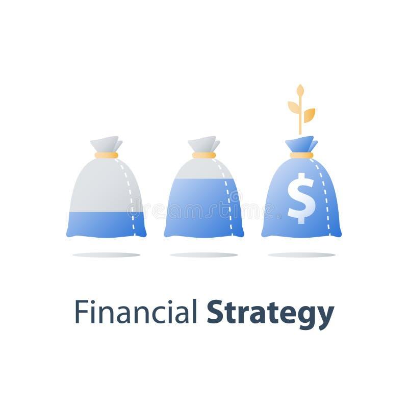 La inversión a largo plazo, aumento de la renta, crecimiento de los ingresos, tipo de interés alto, presupuesto financiero, gana  ilustración del vector