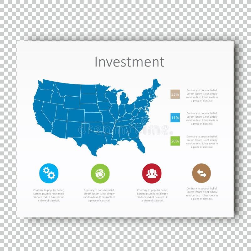 La inversión los E.E.U.U. de Infographic traza la plantilla de la presentación, diseño de la disposición del negocio, estilo mode ilustración del vector