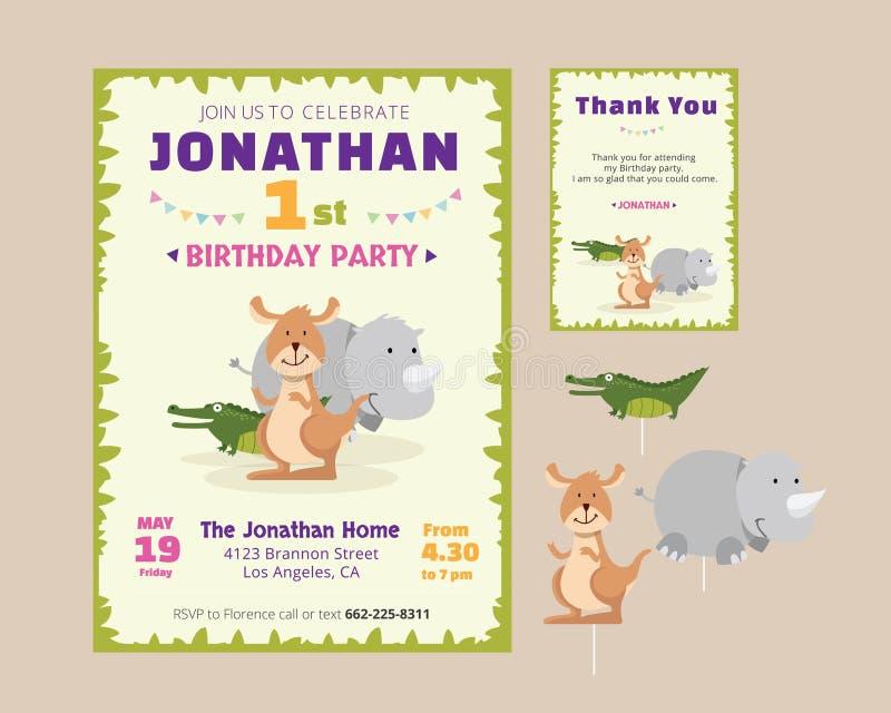 La invitación animal linda de la fiesta de cumpleaños del tema y le agradece cardar la plantilla del ejemplo stock de ilustración