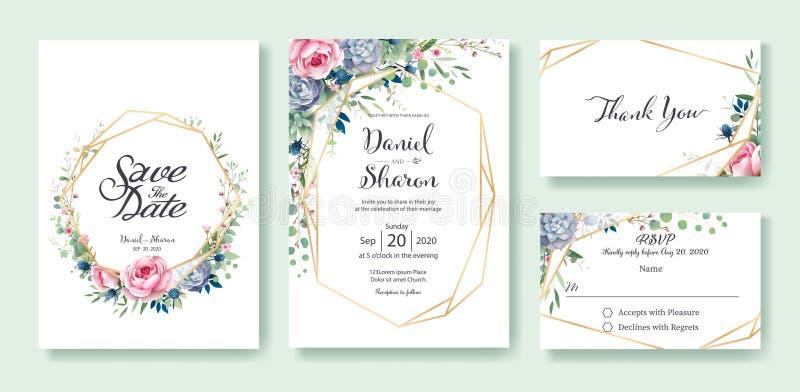 La invitación de la boda, ahorra la fecha, gracias, plantilla del diseño de tarjeta del rsvp La reina de Suecia subió flor, hojas stock de ilustración