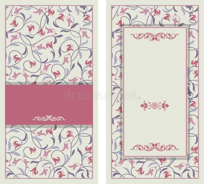 La invitación de la boda carda estilo barroco Modelo de la vendimia Ornamento del estilo de Damasco Capítulo con los elementos de ilustración del vector