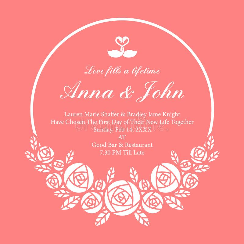 La invitación de boda con la guirnalda blanca del círculo subió flor en diseño rosado del vector del fondo libre illustration