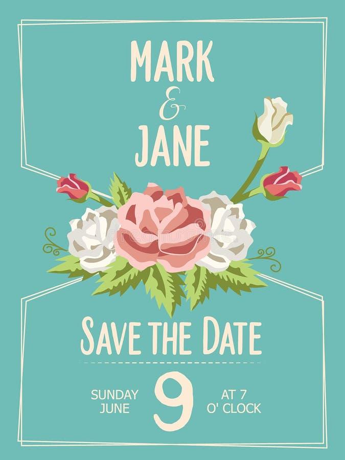 La invitación de la boda, floral invita a la tarjeta del diseño, de felicitación de tarjeta con las rosas, a la acuarela, al cump stock de ilustración