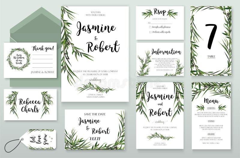 La invitación de la boda invita a diseño de tarjeta con el gre del eucalipto del sauce libre illustration