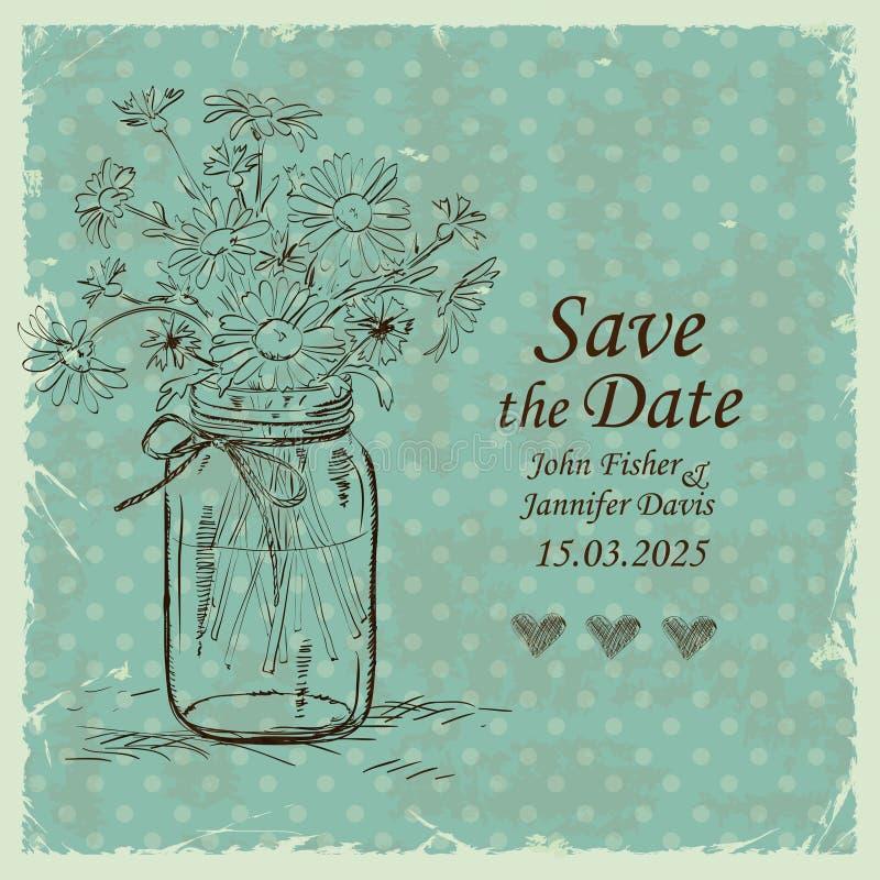 La invitación de la boda con el tarro y la manzanilla de albañil florece ilustración del vector