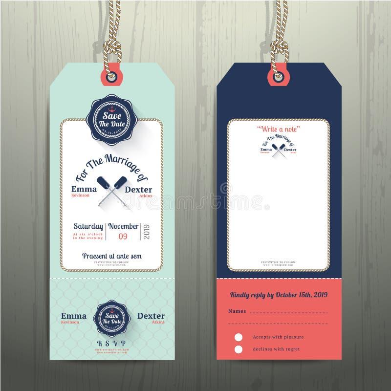 La invitación de la boda de la etiqueta de la ejecución y la tarjeta náuticas de RSVP con la cuerda de la red diseñan libre illustration