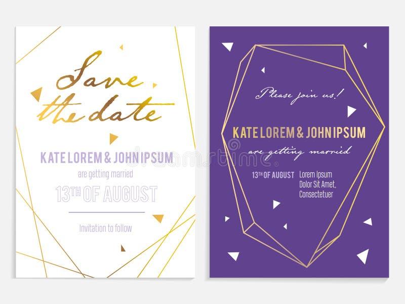 La invitación de lujo de la boda y ahorra la tarjeta de fecha imagen de archivo libre de regalías