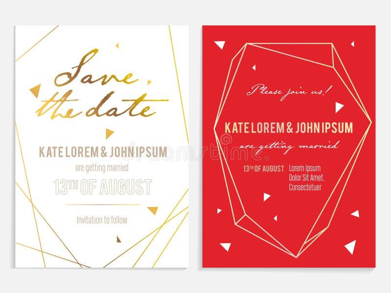 La invitación de lujo de la boda y ahorra la tarjeta de fecha fotos de archivo