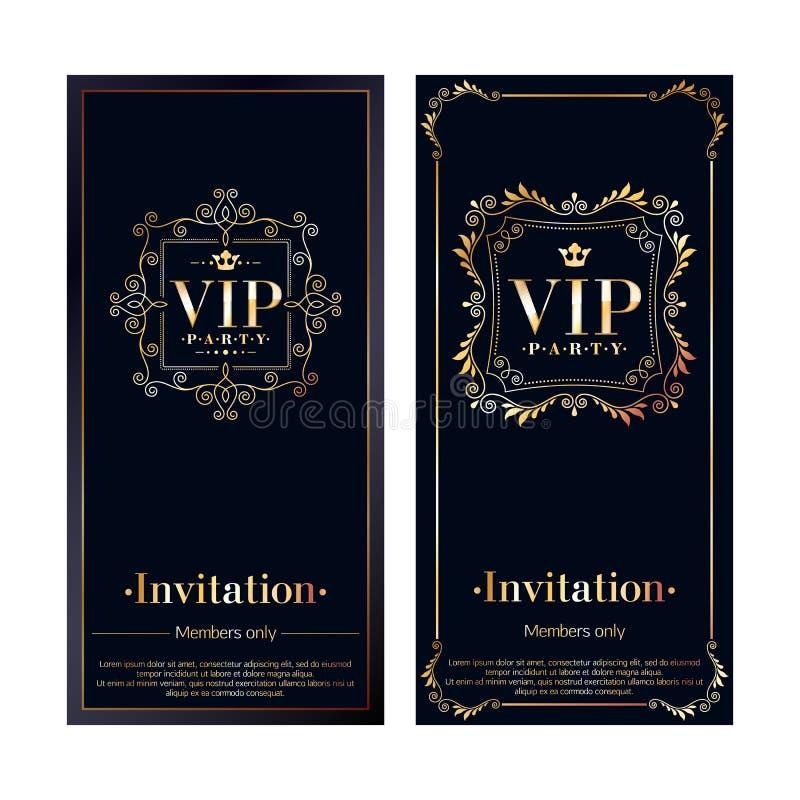 La invitación del VIP carda plantillas superiores del diseño ilustración del vector