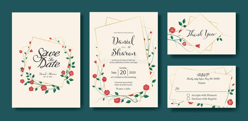 La invitación que se casa floral, ahorra la fecha, gracias, plantilla del diseño de tarjeta del rsvp Vector Vector color de rosa  stock de ilustración