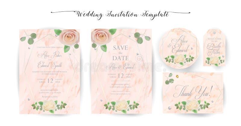 La invitaci?n que se casa floral elegante invita, gracias, rsvp, ahorran la fecha, tarjeta nupcial de la ducha stock de ilustración