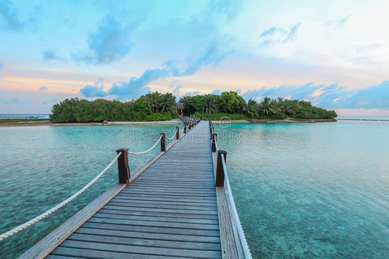 La isla asombrosa en los Maldivas, el puente de madera y la turquesa hermosa riega con el fondo del cielo azul para las vacacione fotografía de archivo libre de regalías