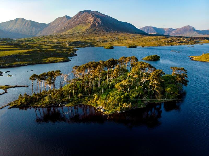 La isla de doce pinos, colocándose en un fondo magnífico formado por los picos agudos de una cordillera llamó doce Bens, condado  fotografía de archivo libre de regalías