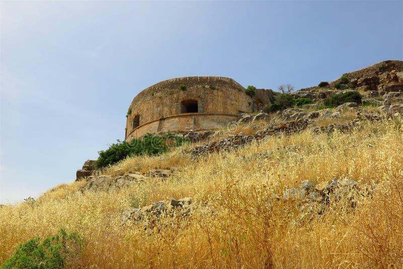 La isla de Spinalonga, Creta, Grecia abandonó la torre fotos de archivo libres de regalías