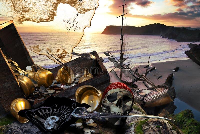La isla del tesoro ilustración del vector