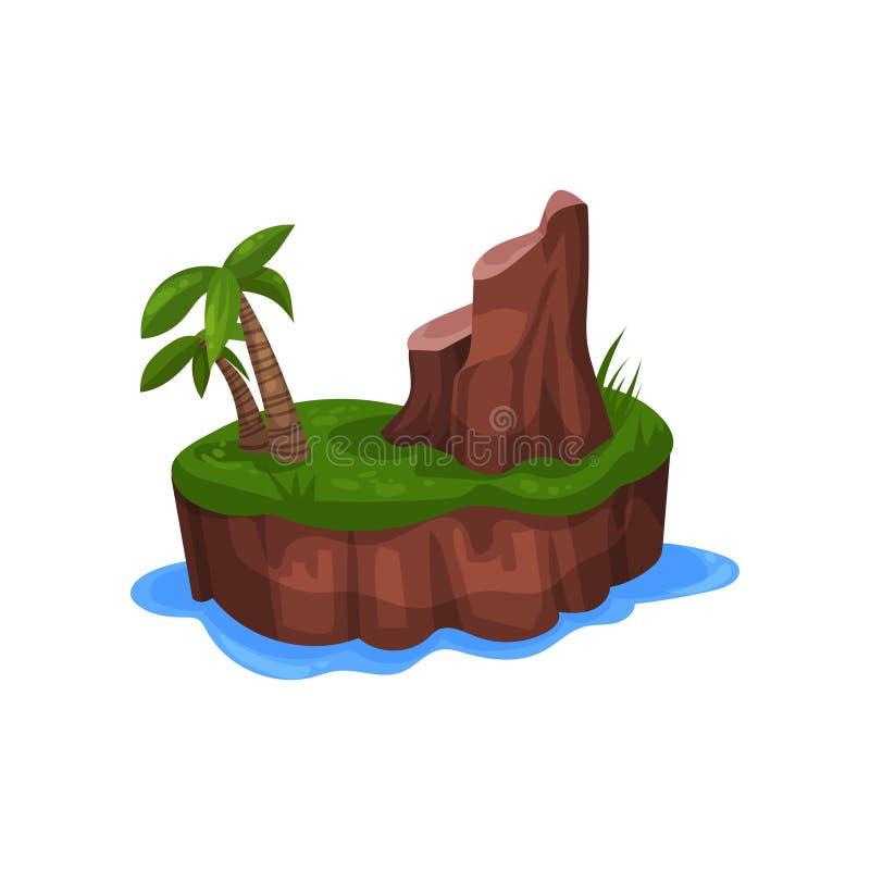 La isla tropical en el océano con la palmera y la montaña vector el ejemplo en un fondo blanco stock de ilustración