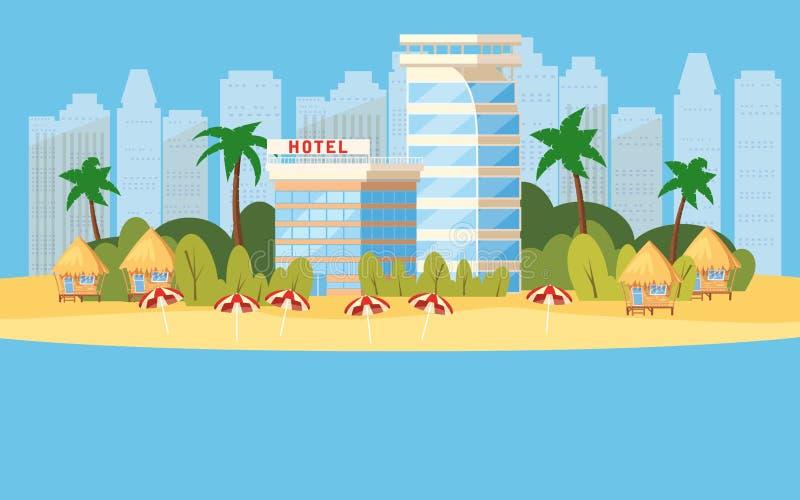 La isla tropical, hoteles constructivos, vacaciones, viaje, se relaja, paisaje marino, océano, silla de playa, paraguas, plantill ilustración del vector