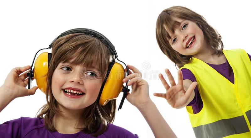 La ittle girl with receiver royalty free stock image