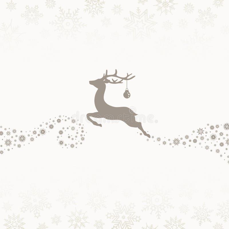 A La Izquierda, Renos Voladores Con Bebidas De Snowflakes De Beige Marrón stock de ilustración