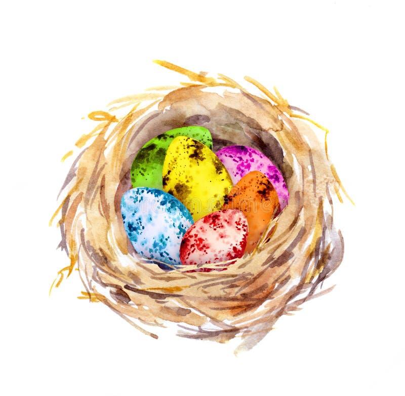 La jerarquía con Pascua coloreó los huevos watercolor stock de ilustración