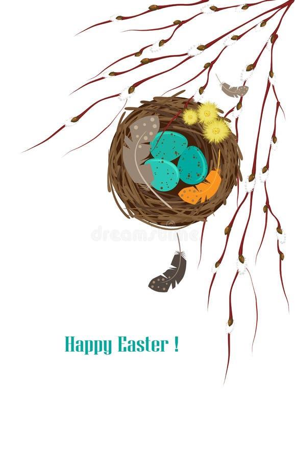 La jerarquía del ` s del pájaro con los huevos y el sauce ramifica ilustración del vector
