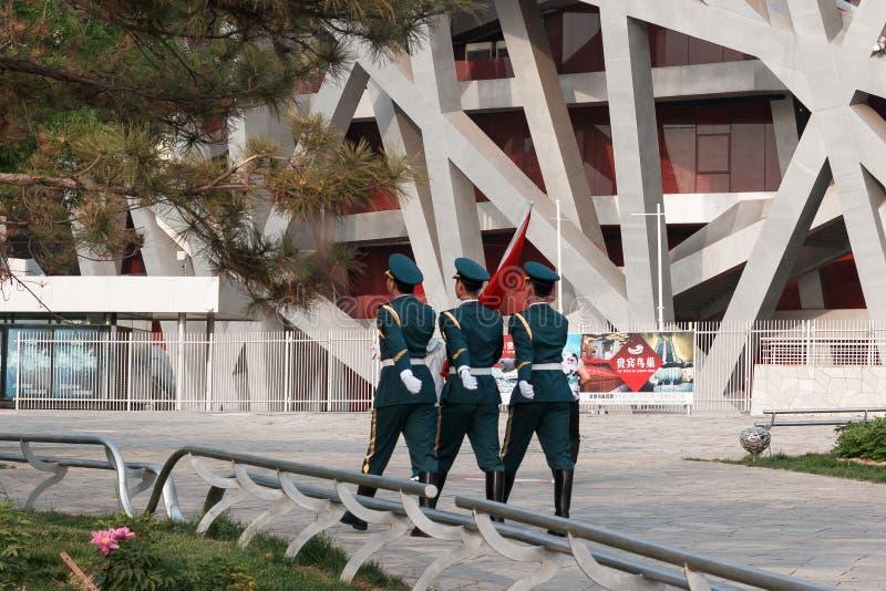 La jerarquía del ` s del pájaro es un estadio diseñado para el uso en las 2008 Olimpiadas de verano y Paralympics foto de archivo libre de regalías