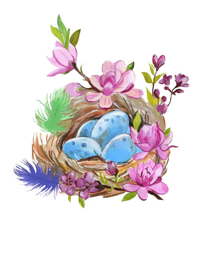 La jerarquía del tordo pintado a mano de la acuarela con los huevos en blanco Ejemplo de la naturaleza de la acuarela stock de ilustración