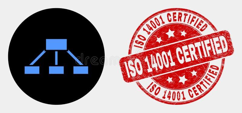 La jerarquía del vector liga el sello certificado del icono y del sello del Grunge ISO 14001 ilustración del vector