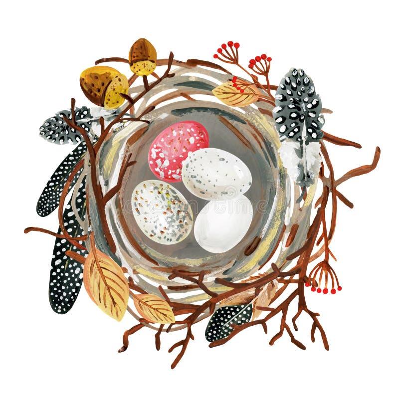 La jerarquía a mano del pájaro grande con las plumas, los huevos, la rama, las bellotas y las bayas manchados ilustración del vector