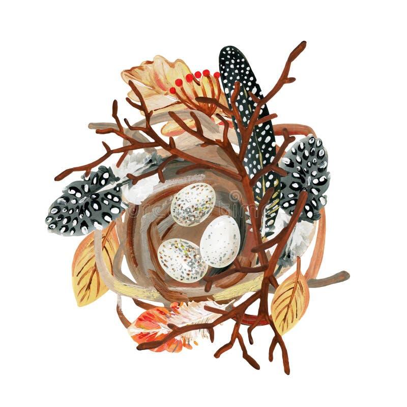 La jerarquía a mano del pequeño pájaro con las plumas, los huevos, la rama y las bayas manchados ilustración del vector