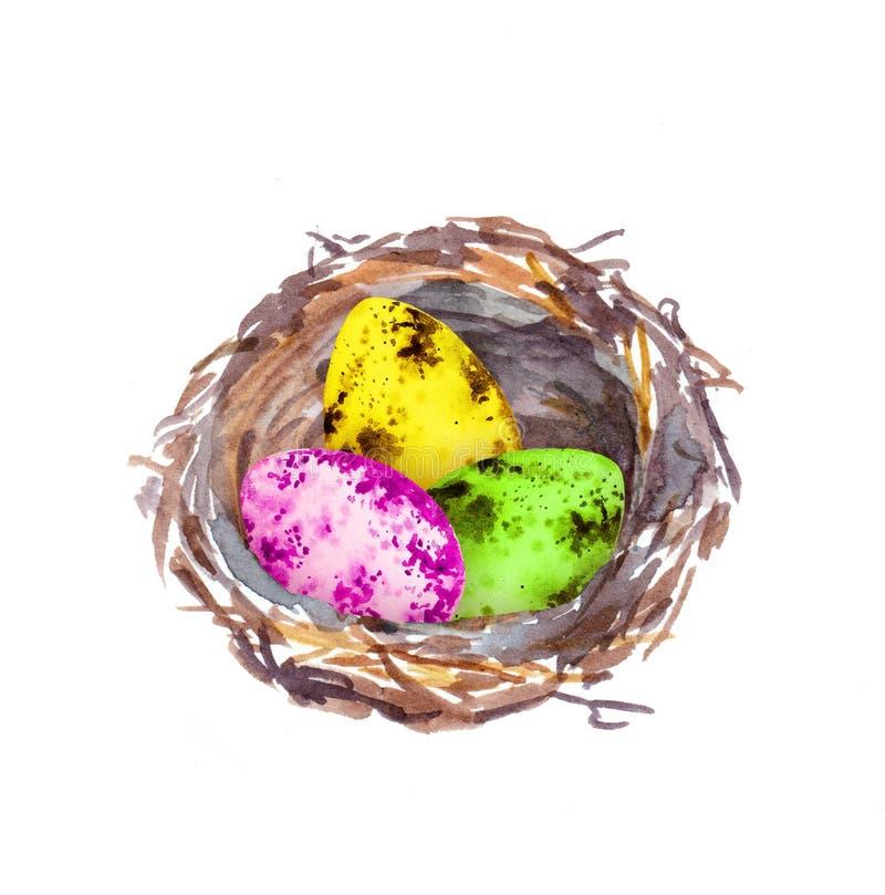 La jerarqu?a con Pascua colore? los huevos Color de agua ilustración del vector