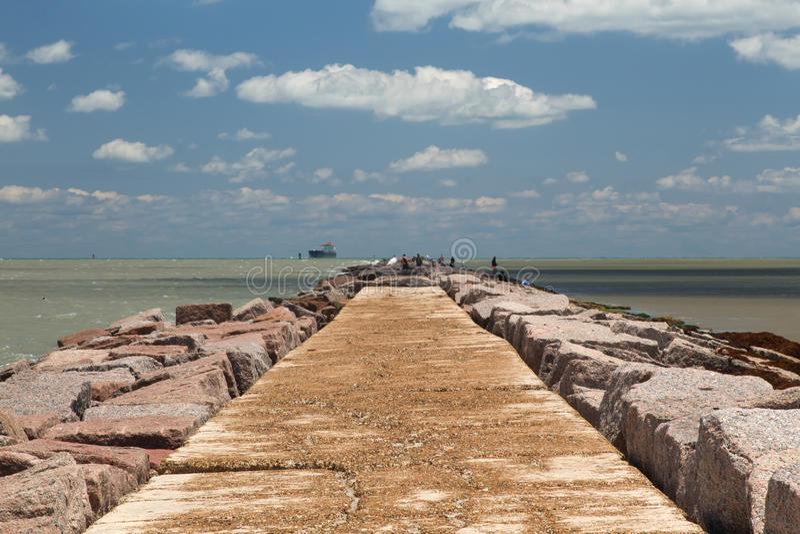 La jetée du sud du port Aransas, le Texas photo stock