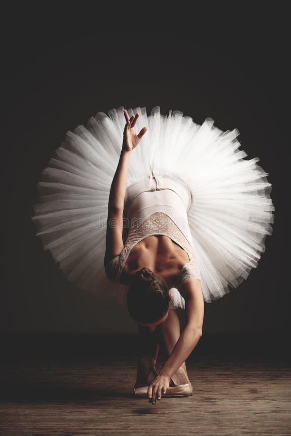 La jeune belle ballerine pose dans le studio photographie stock