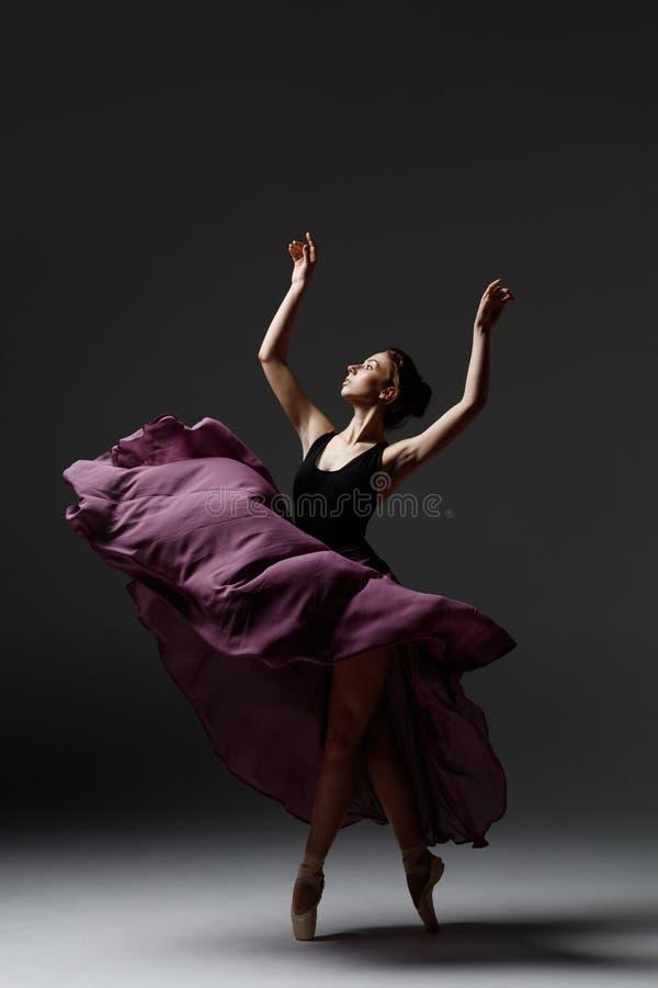 La jeune belle ballerine pose dans le studio image stock