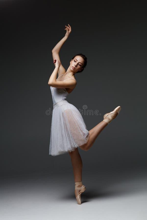La jeune belle ballerine pose dans le studio image libre de droits