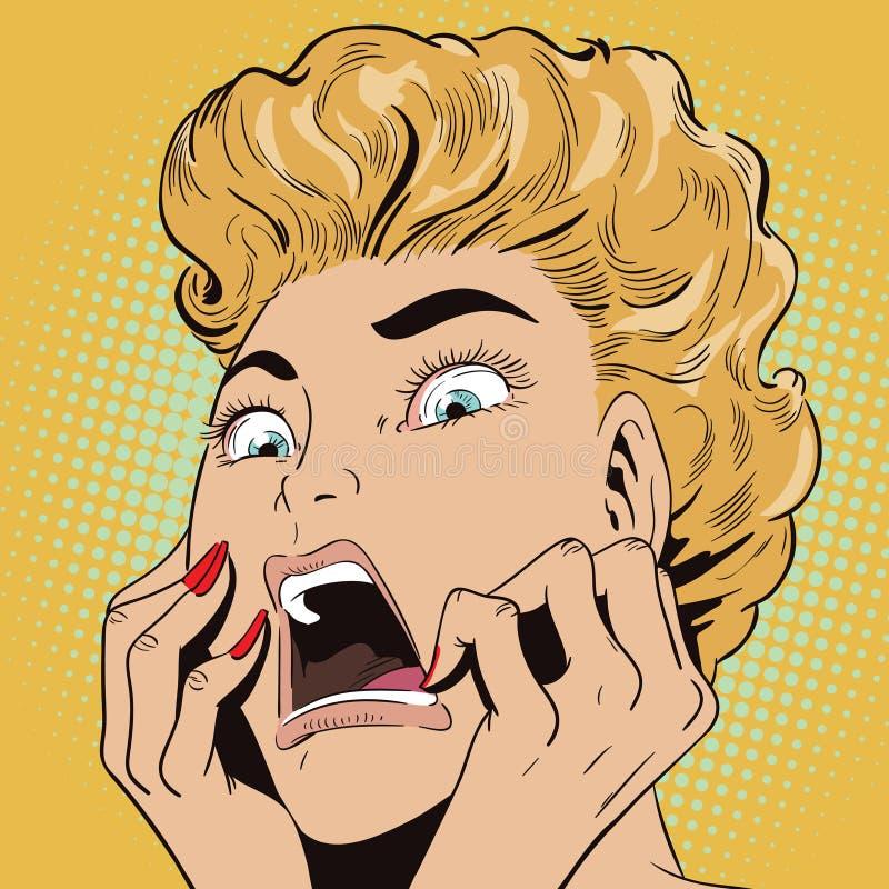 La jeune belle femme crie sur la crainte illustration stock