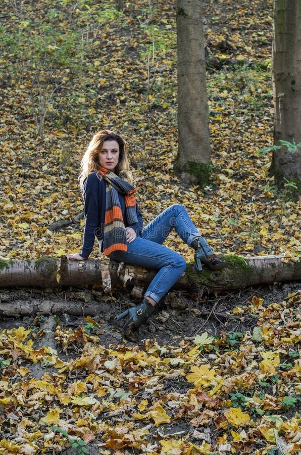 La jeune belle fille avec de longs cheveux, avec une écharpe autour de son cou, s'assied sur un rondin d'arbre tombé dans la forê photographie stock libre de droits