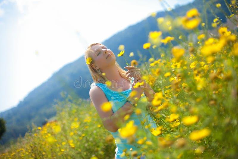 La jeune belle fille blonde dans un domaine de camomille se tient posante avec une fleur dans des ses mains photo stock